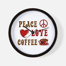 Peace Love Coffee 1 Wall Clock