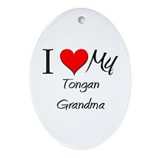 I Heart My Tongan Grandma Oval Ornament