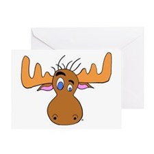 Cartoon Moose Antlers Greeting Card