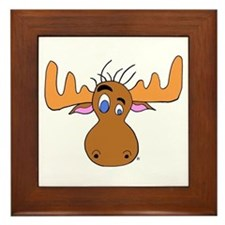 Cartoon Moose Antlers Framed Tile