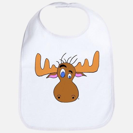 Cartoon Moose Antlers Bib