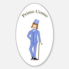 Brown Primo Uomo in Light Blue Suit Oval Decal