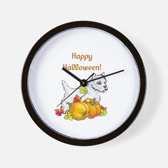 Happy Halloween Westie Wall Clock