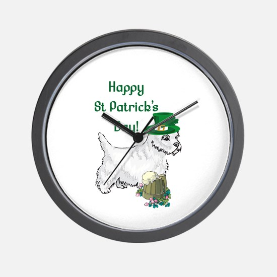 St Patricks Day Westie Wall Clock