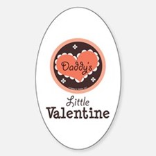 Pink Brown Daddy's Little Valentine Oval Decal