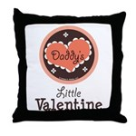 Pink Brown Daddy's Little Valentine Throw Pillow