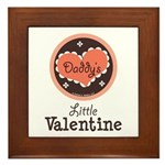 Pink Brown Daddy's Little Valentine Framed Tile