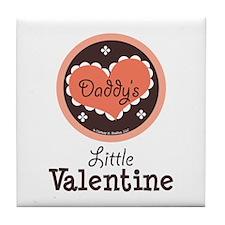 Pink Brown Daddy's Little Valentine Tile Coaster