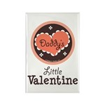 Pink Brown Daddy's Little Valentine Rectangle Magn