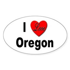 I Love Oregon Oval Decal