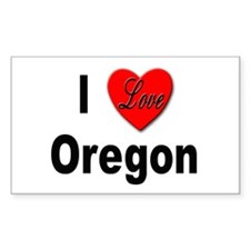 I Love Oregon Rectangle Decal