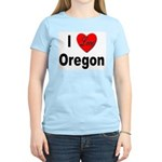 I Love Oregon (Front) Women's Pink T-Shirt