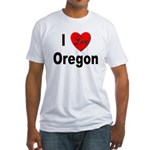 I Love Oregon (Front) Fitted T-Shirt