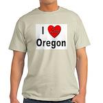 I Love Oregon (Front) Ash Grey T-Shirt