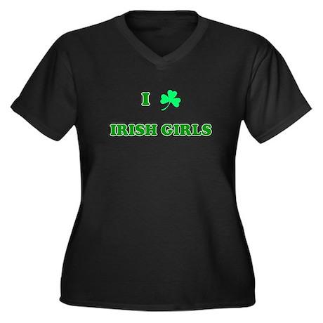 I Love Irish Girls Women's Plus Size V-Neck Dark T