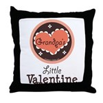 Pink Brown Grandpa's Little Valentine Throw Pillow