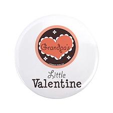 "Pink Brown Grandpa's Little Valentine 3.5"" Button"