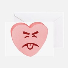 Pink Yuck Face Heart Greeting Card