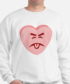 Pink Yuck Face Heart Sweatshirt