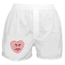 Pink Yuck Face Heart Boxer Shorts
