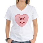 Pink Yuck Face Heart Women's V-Neck T-Shirt