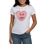 Pink Yuck Face Heart Women's T-Shirt