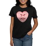 Pink Yuck Face Heart Women's Dark T-Shirt
