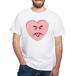 Pink Yuck Face Heart White T-Shirt