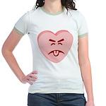 Pink Yuck Face Heart Jr. Ringer T-Shirt