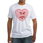 Pink Yuck Face Heart Fitted T-Shirt