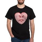 Pink Yuck Face Heart Dark T-Shirt