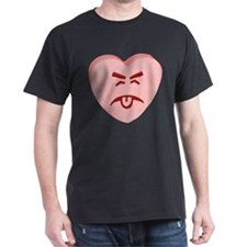 Pink Yuck Face Heart T-Shirt