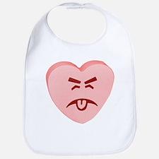 Pink Yuck Face Heart Bib