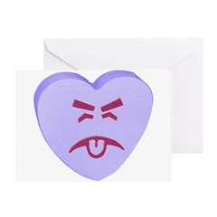 Blue Yuck Face Heart Greeting Card