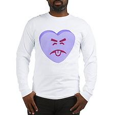 Blue Yuck Face Heart Long Sleeve T-Shirt