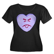 Blue Yuck Face Heart T