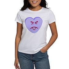 Blue Yuck Face Heart Tee