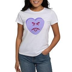 Blue Yuck Face Heart Women's T-Shirt