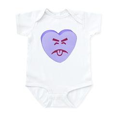Blue Yuck Face Heart Infant Bodysuit