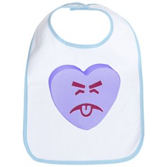 Blue Yuck Face Heart Bib