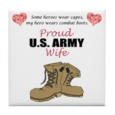 Proud US Army Wife Tile Coaster