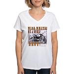 WIDE WHITES on a BIKE Women's V-Neck T-Shirt