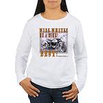 WIDE WHITES on a BIKE Women's Long Sleeve T-Shirt