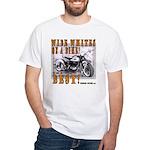 WIDE WHITES on a BIKE White T-Shirt