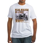 WIDE WHITES on a BIKE Fitted T-Shirt