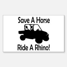 Save A Horse Ride A Rhino Rectangle Decal