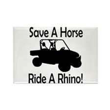 Save A Horse Ride A Rhino Rectangle Magnet