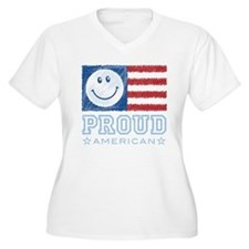 Smiley Face Proud American T-Shirt