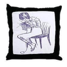 Blue Knitter Throw Pillow