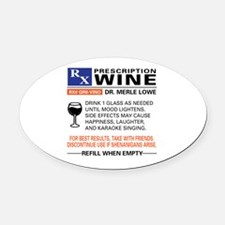 Cute Wine Oval Car Magnet